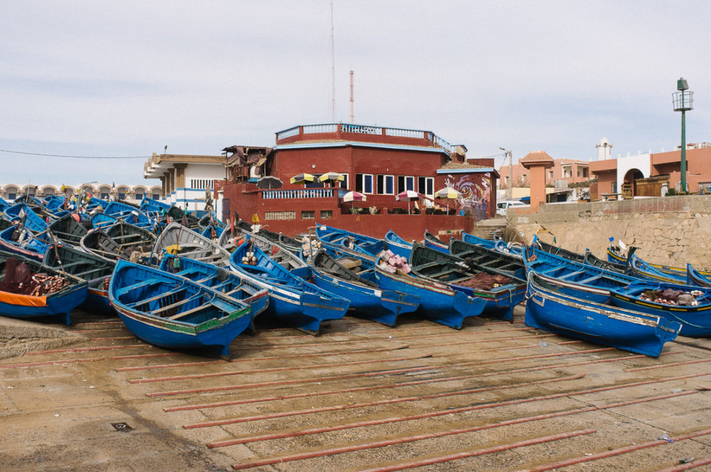 The fishing boats in the port of Imsouane